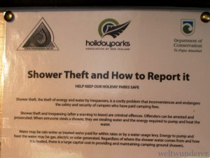 Shower theft NZ campsite