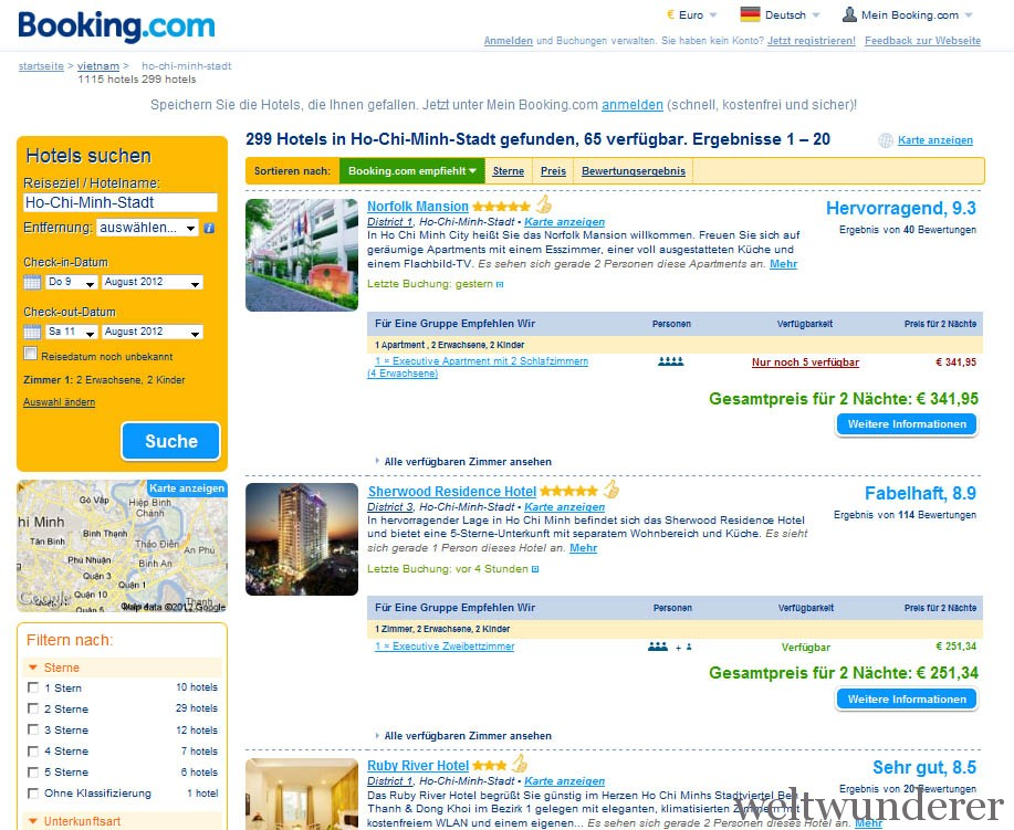 Booking.com Hotel buchen in Vietnam
