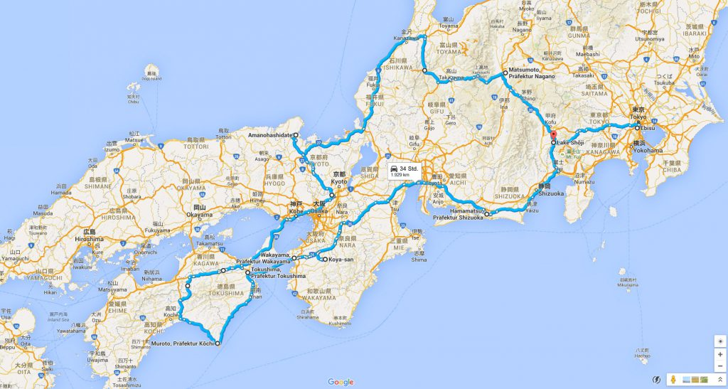 Weltwunderer Route Japan