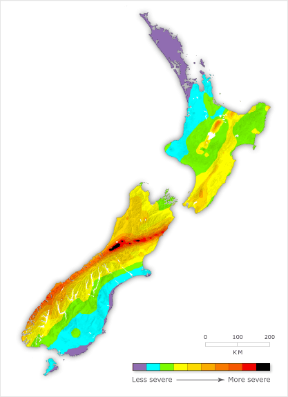 Te Ara Earthquake Risk Zones New Zealand