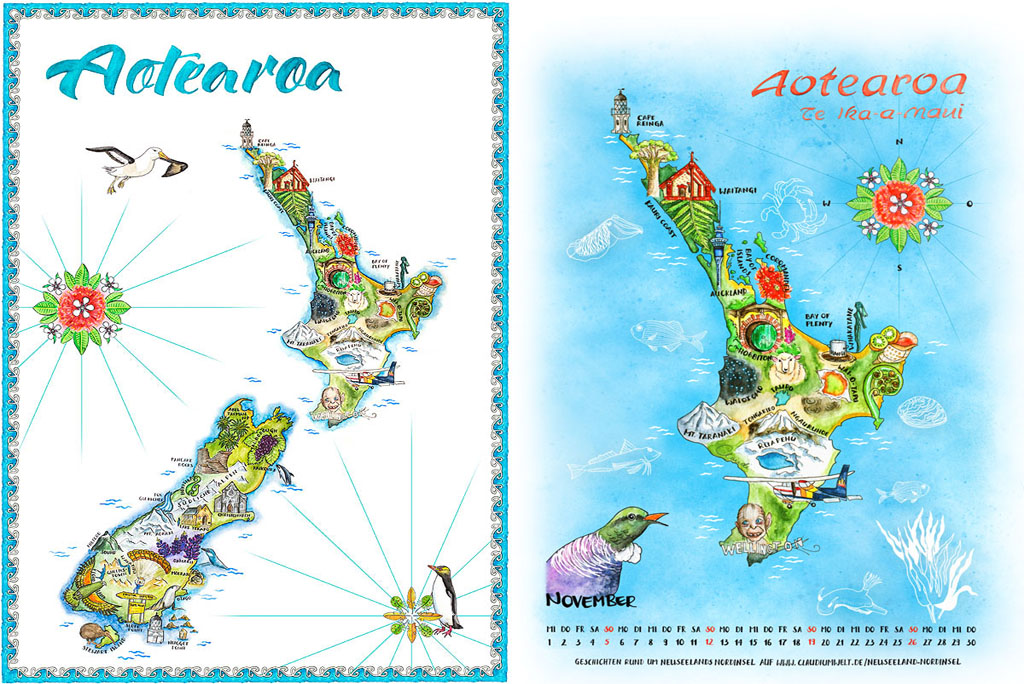 Neuseeland Kalender Poster