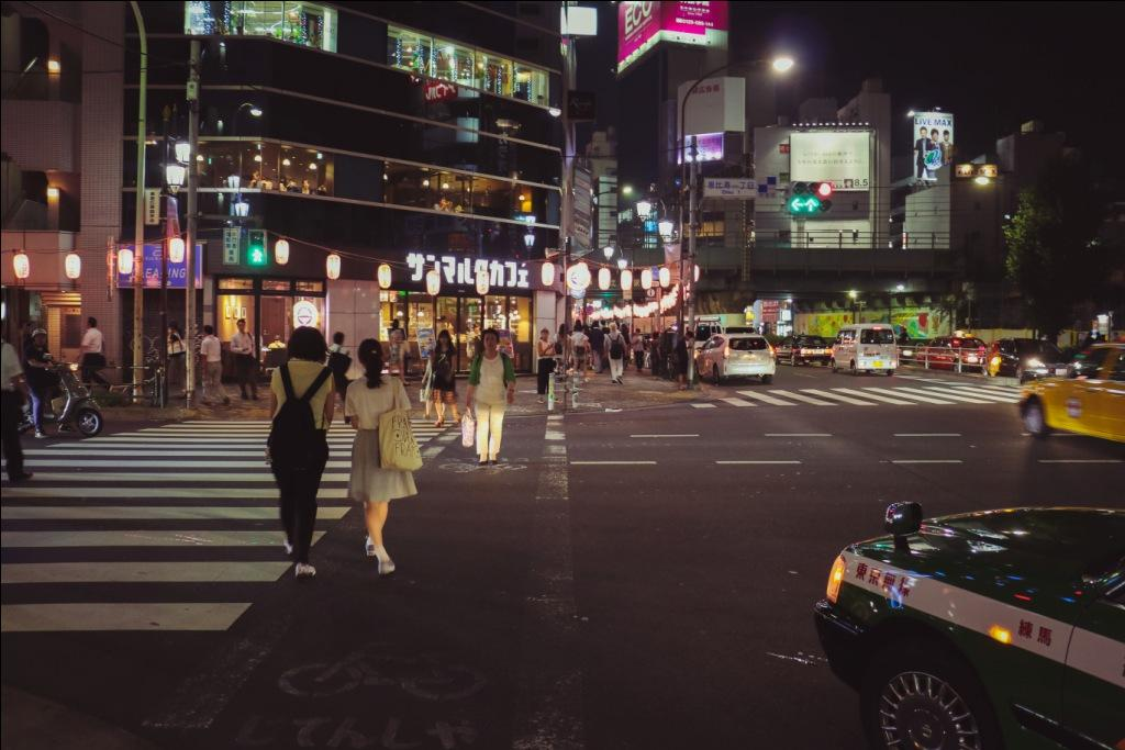 Tokio Ebisu crossing at night