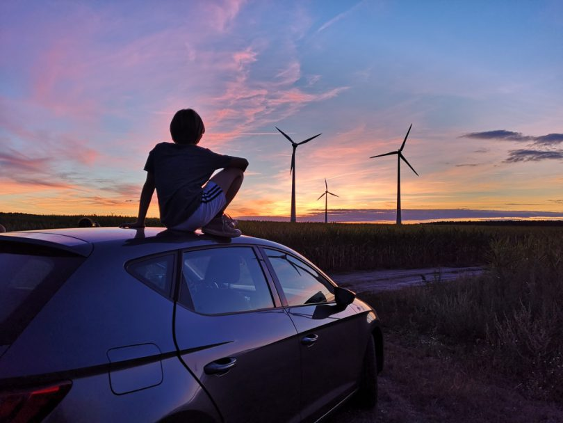 Leben ohne Auto Sonnenuntergang Windräder