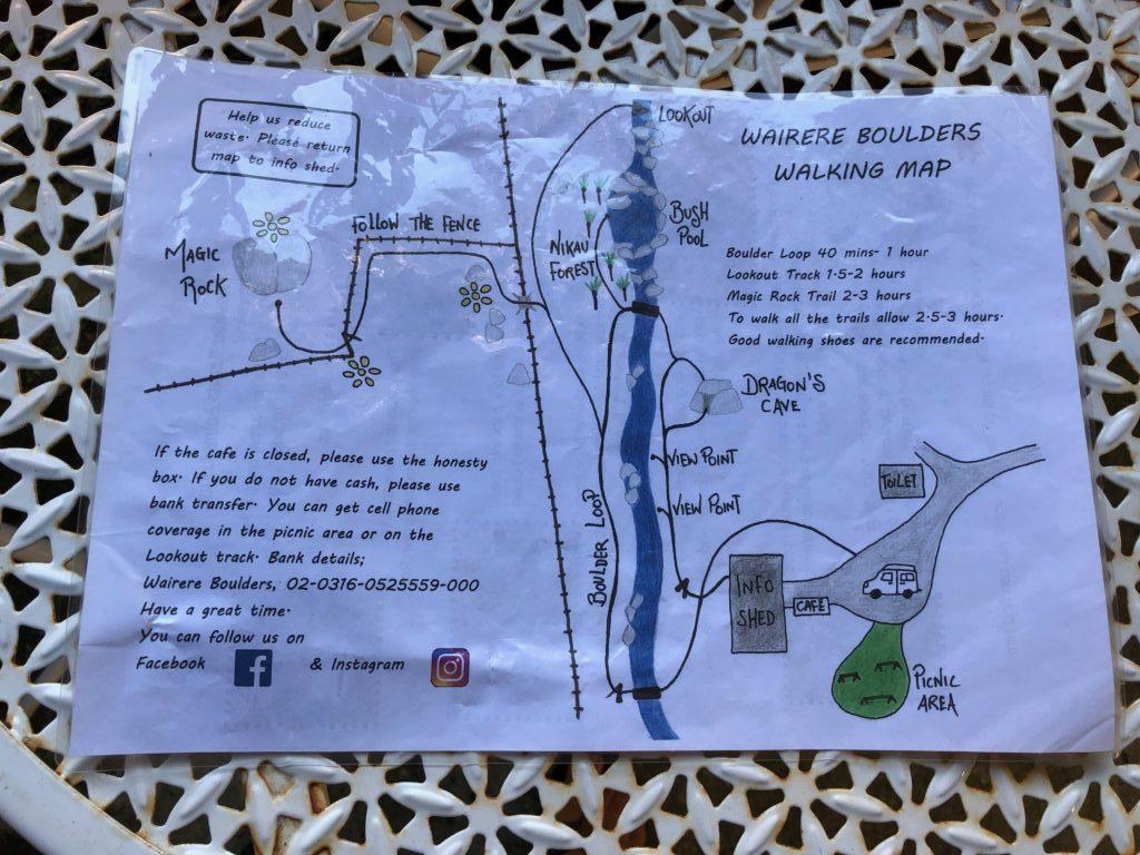 Wairere Boulders Orientierungskarte